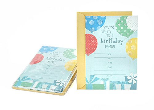Hallmark Birthday Party Invitations, Balloons and Gifts (Pack of 10 Birthday Invites with Envelopes)