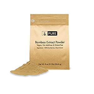 Bamboo Extract Powder (8 oz) by Pure, 100% Pure & All-Natural, Non-GMO, Organic Bamboo Extract Powder, 8 Ounce, Strongly Supports Healthy Skin, Nail, Hair, Joints and Bones with Minerals and Silica 80