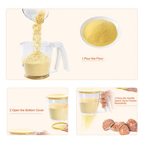 Flour Sifter,Plastic Flour Strainer Powder Mesh Sieve Baking Supplies Tools with Lid