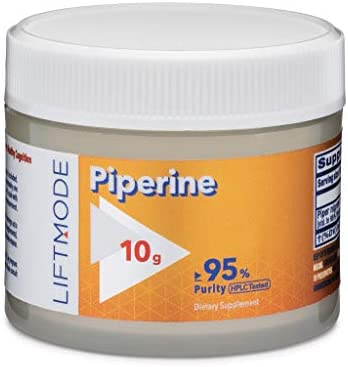 LiftMode Piperine – Enhances Absorption and Uptake of Supplements, Black Pepper Extract Piper Nigrum Vegetarian, Vegan, Non-GMO, Gluten Free – 10 Grams 1000 Servings