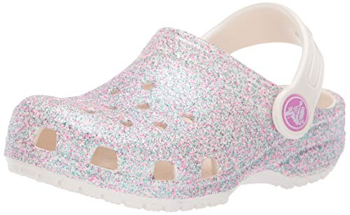 Crocs Kids' Classic Glitter Clog, Oyster, 7 M US Toddler (Crocs Clogs Kids)