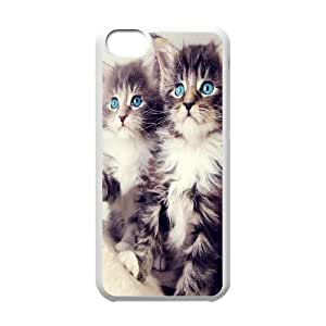 iPhone 5C Case,Cute Blue Eyed Kittens Hard Shell Back Case for White iPhone 5C Okaycosama367587