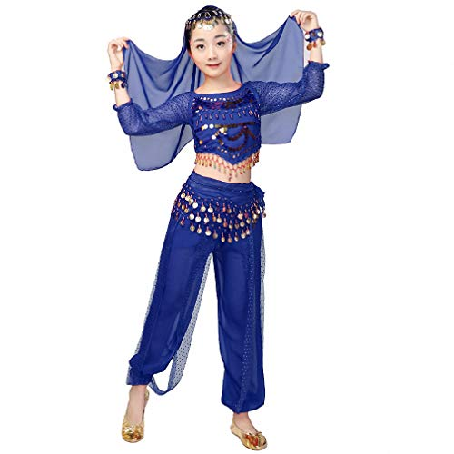 Belly Dancer Costume Outfit 6pcs Kit for Girls, Kids Arabian Princess Indian Dance Chiffon Clothes Suit (M, Purple) (XXL, Dark-Blue)]()