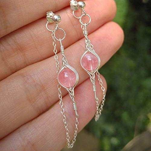 (Genuine Rose Quartz Crystal 925 Sterling Silver Handmade Earring)