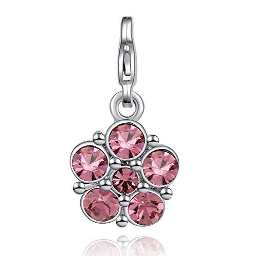 Morella Charms pendentif en forme de fleur rose en zircons