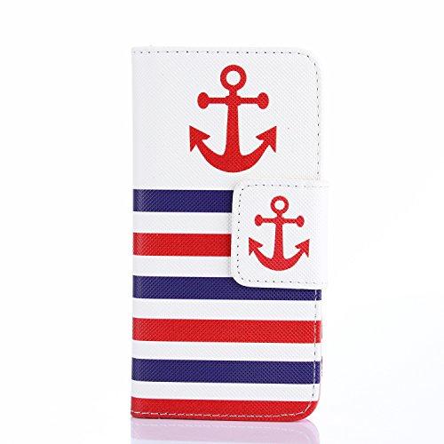 MOONCASE iPhone 4 Case Leder Tasche Flip Case Cover Schutzhülle Etui Hülle Schale für iPhone 4 4S