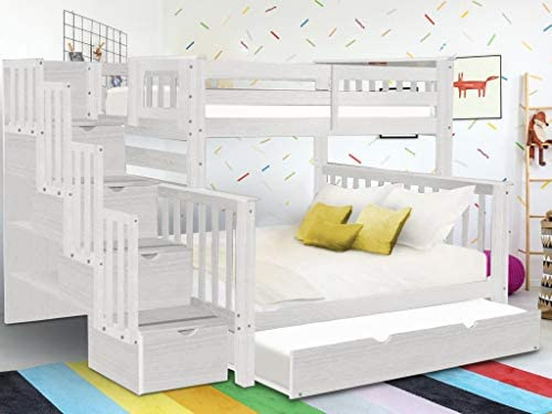 Bedz King BK961-Brushed-White-Trundle Bunk Bed