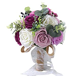 Abbie Home 10 inches Bride Bouquets - Artificial Wedding Flower Real Touch Rose Peony Holding Bouquet - Line Lace Bow Décor (Purple+Lavender) 95