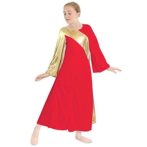 - Danzcue Girls Asymmetrical Bell Sleeve Dance Dress (8-10, Scarlet-Gold)