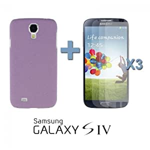 OnlineBestDigital - Frosted Surface Hard Back Plastic Case for Samsung Galaxy S4 IV I9500 / I9505 - Purple with 3 Screen Protectors