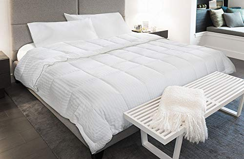 Courtyard By Marriott Down Alternative Blanket Soft Cozy Hypoallergenic Blanket With High Sheen Cover Exclusively For Courtyard White On White Stripe King