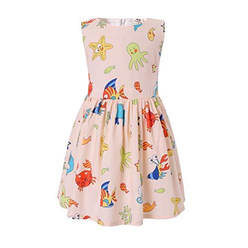 SMILING PINKER Little Girls Dress Cartoon Sleeveless Summer Cotton Dresses for Baby Toddler (Beige sea Creatures, 5-6)