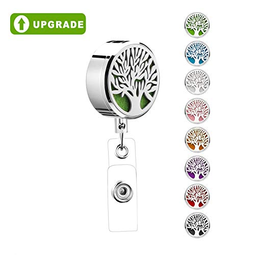 Retractable Badge Holder Reel Clip ID Upgrade for Nurse Essential Oil Diffuser Aromatherapy Heavy Duty Cute Name Card Holder for Teacher Tree of Life