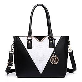 Miss Lulu Leather Look V-Shape Shoulder Handbag