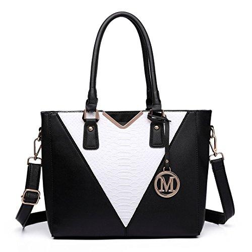 Ladies for V Design Patchwork Black Women Girls Leather Lulu Shoulder 6632 Shape Bag Tote Miss Handbag pqn1HU5w