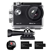 Dragon Touch 1080P WiFi Action Camera 30m Underwater Camera Vision 2 170° Wide Angle Sports Camera Remote Control 2 Batteries Helmet Mounting Accessories Kit