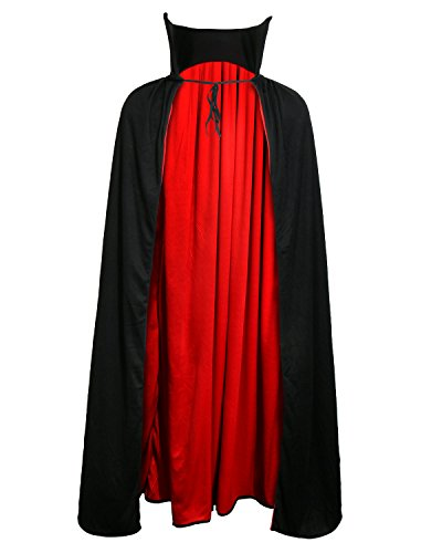 Adult Devil Vampire Costume Cloak Medieval Long Black Red Reversible Halloween Cosplay Cape (XXL 54