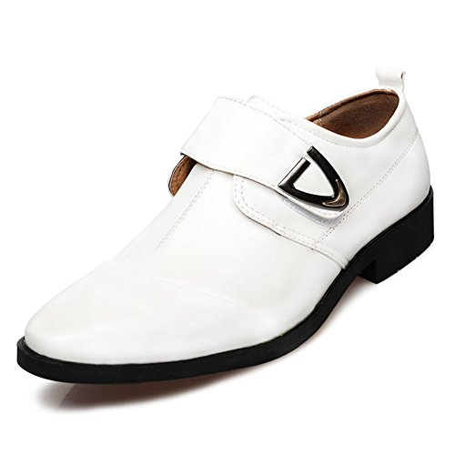 Seakee Men's Formal Business Oxford Velcro-straps Dress Shoes(White)US 12