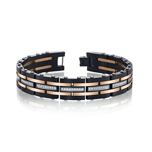 Mens Stainless Steel Two Tone Bracelet - SPARTAN Two-Tone Stainless Steel Men's Bracelet (Two-Tone Stainless Steel with Cubic Zirconia)