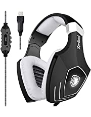 Gaming Headset, SADES SA818 PS4 Gaming Headset for Xbox One, PC, Switch, Tablet,Nintendo Laptop, Mobile, with Mic LED Over Ear Sound Noise Cancelling & Volume Control(Black&Blue)