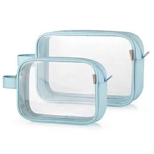 GAGAKU TSA Approved Clear Toiletry Bag Transparent Makeup Bags Set Waterproof Wash Bag 2pcs - Blue