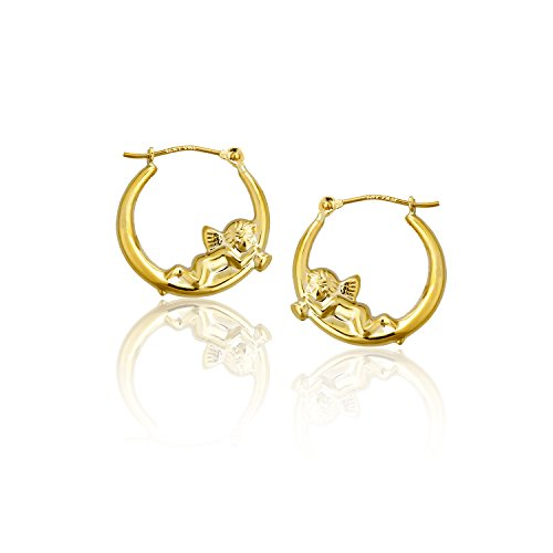 14k Gold Cherub (14K Yellow Gold Cherub Hoop Earring)
