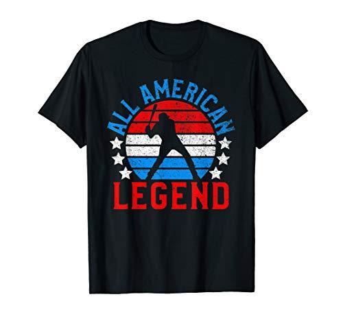 Funny All American Baseball Player USA Flag July 4th Gift T-Shirt