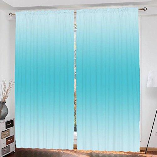Ombre Custom design Tropical Beach Cove Aquatic Ombre Design Digital Printed Room Decorations Art Print curtain Living Room Bedroom Window Drapes 2 Panel Set 108