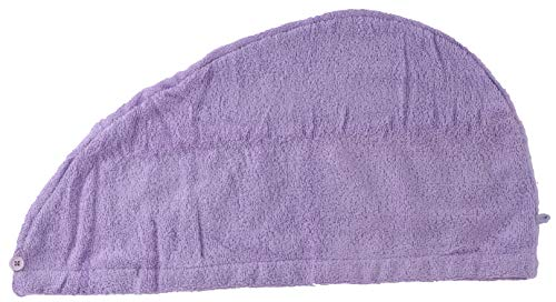 (Green Atmos 1 Pack Lavander Color 100% cotton zero twist terry hair towel super absorbent quick dry hair turban for drying curly, long and thick hair)