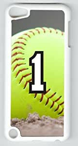 Softball Sports Fan Player Number 1 White Plastic Decorative iPod iTouch 5th Generation Case