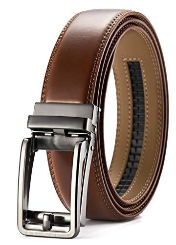 Men's Leather Ratchet Belt Dress with Slide Click Buckle ?1 3/8