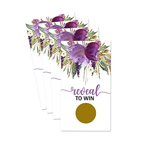 (Purple Floral Scratch Offs Game Cards Bridal Baby or Party 28 pack)
