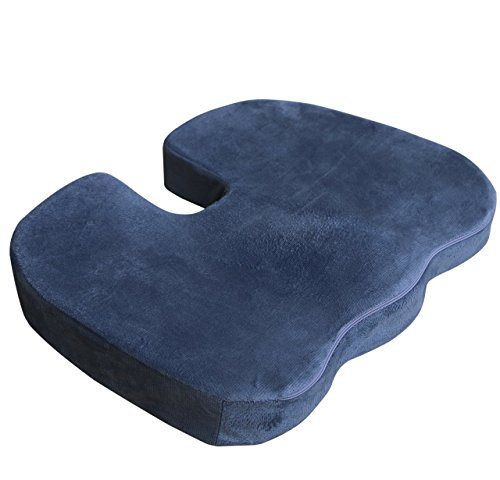 Coccyx Orthopedic Contoured Foam Seat Chair Cushion by Lemon Hero. Firmly Comfortable. Pillow Relieves Lower Back, Tailbone and Sciatica (Large Contoured Seat)