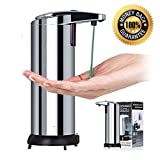 Touchless Stainless Steel Liquid Soap Dispenser, Automatic Lotion Dispenser, IR Infrared Motion Sensor Hand Free Dish Countertop Soap Dispenser for Kitchen and Bathroom Durable Dispenser(Silver)