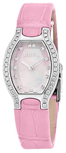 Ebel Beluga Tonneau Womens Pink Mother-of-Pearl Face Diamond Light Blue Leather Strap Swiss Quartz Watch 1216255