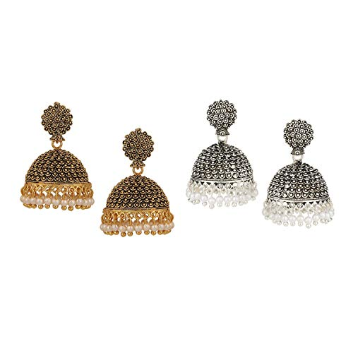 Efulgenz Indian Vintage Bollywood Gypsy Oxidized Gold Plated Traditional Jhumka Jhumki Earrings for Women and Girls (White+Yellow) (Best Selling Perfumes For Ladies In India)