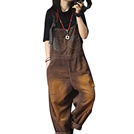 YESNO PFC Women Casual Loose Jumpsuits Rompers Corduroy Overalls Hole Bib Pants Distressed