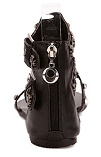 Aisun Women's Bling Buckled Thong Sandals Shoes Black y30mRGDOpx