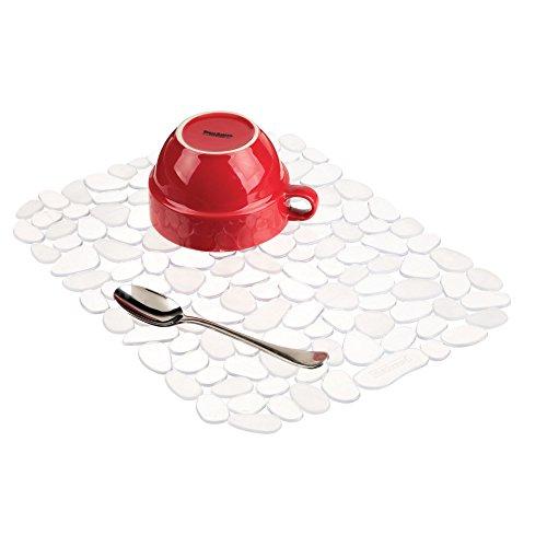 iDesign Pebblz Large Plastic Sink Grid, Non-Skid Dish Protector Mat for Kitchen, Bathroom, Basement, Garage, 12 x 15.5 - Clear