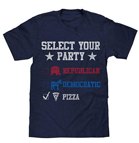 Vote Pizza Party in 2016 T-Shirt | Navy Blue | Poly Cotton Blend