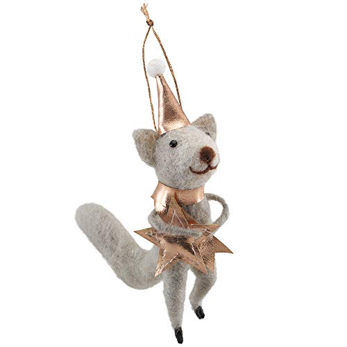 Wool Mouse Ornament Party Hat Stars 1.5 x 4.5 x 5.75 H