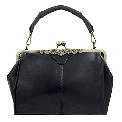 Donalworld Women Retro Hollow out PU Leather Handbag L Black ()