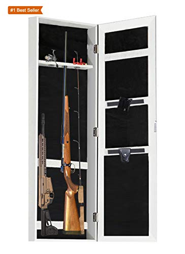 (Gun Cabinet Armoire Hidden in The Wall Mirror Rifle and Pistol Safe (Holds Small 40.5