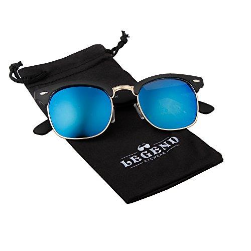 Classic Clubmaster Retro Sunglasses (Matte Black, Blue Mirror - Black Matte Clubmaster
