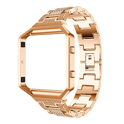 - for Fitbit Blaze Jewelry Crystal Metal Replacement Watch Band,Outsta Stylish Watch Band Wrist Strap+Metal Frame, Watch Accessories Bracelet Women Best Gift (Rose Gold B)