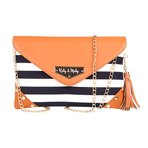 Rendezvous Envelope Clutch Crossbody Purse: Small Convertible Handbag for Women - Leather & Fabric Bag with Removable Chain Strap - Safari Pattern (Envelope Style Convertible Clutch)