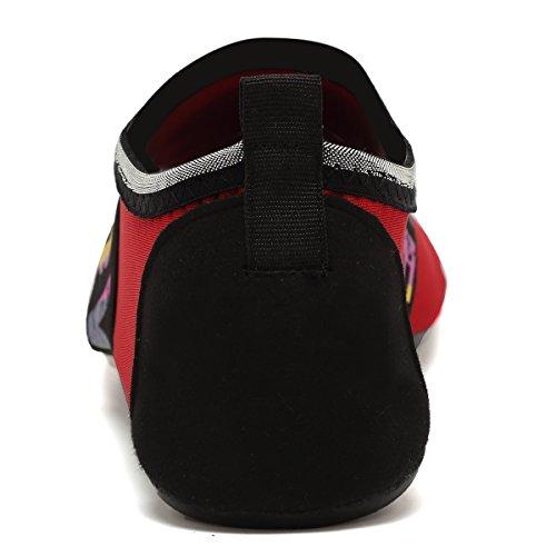 ANLUKE Wassersport Barfuß Schuhe Quick-Dry Aqua Yoga Socken Slip-On Für Männer Frauen Kinder F Rote Liebe
