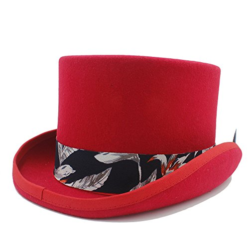 Sdcvopl Top Costume Hat Top Hat with Blue Pattern Cloth Hat for Women Lightweight (Color : Red, Size : 57CM)]()