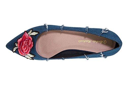 Lona Ballerinas Flores Damen Blau Marino für Machado Andres aqwpRX