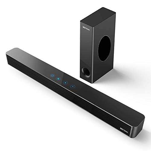 Cheap Sound Bar, Bestisan TV Sound Bar with Wired Subwoofer, 120W 2.1 Soundbar, Wired  Wireless Bluetooth 5.0 Speaker for TV, 25 Inch, Optical/Aux/Coaxial, Bass Adjustable Surround Sound for Home Theater soundbar with wired subwoofer